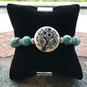 10mm genuine african turquoise tree of life charm
